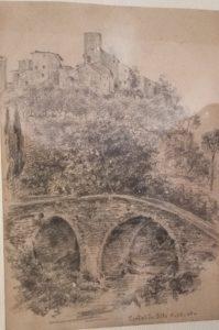 Guideintoscana. Certaldo, disgno del ponte sul torrente Agliena, 8 ottobre 1900