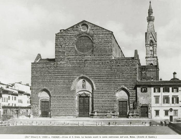 Firenze, facciata della Chiesa di Santa Croce alla metà dell'Ottocento